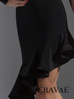 Asymmetrical Latin Practice Skirt with Wrapped Horsehair Hem and Elastic Waistband Available in Three Colors Pra609