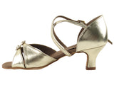 Very Fine S92307 Gold Flower 2 Inch Heel Latin Shoe with Double Buckle Toe Straps and Crossed Ankle Strap