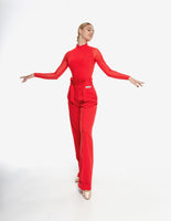 Red Bodysuit Practice Top with High Pleated Collar and Long Sleeves SHARM Pra694