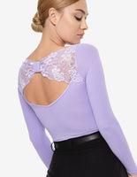 "Ladies Bodysuit with Long Sleeves, V-Neckline, Rouching, and Gathered ""Bow"" Detail on Back LAYLA Pra690"