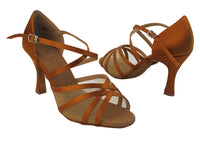 Very Fine SERA1605 Dark Tan Satin Latin Shoe with 3 Inch Flare Heel, Double Cross Strap, and Slip Buckle