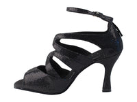 Very Fine SERA7039 Black Scale Latin Shoe with Open Toe and 2.5 or 3 Inch Heel