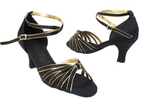 Very Fine SERA7043 Black Satin Gold Trim Latin Shoe with 2.5 Inch Heel and Double Cross Strap