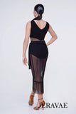 Sheer Black Latin Wrap Skirt with Tie Straps and Fringe Hem Pra635
