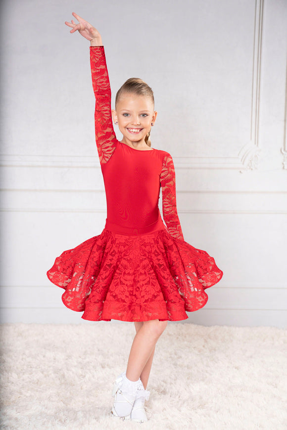 JR-B4 -JR-S3 GIRLS DANCE AMERICA BALLROOM DANCE BODYSUIT WITH LACE SLEEVES AND MATCHING LACE SKIRT MIX AND MATCH