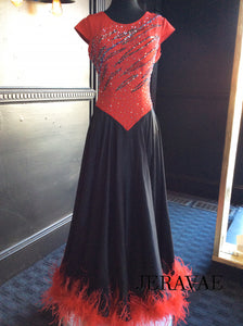 Red and Black Fire Ballroom Dress with Satin Skirt and Red Ostrich Boa ON Hem. Smo104 SZ M