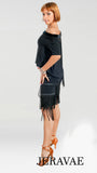 Short Black Latin Practice Skirt with Step Fringe Design in Diagonal Pattern Available in Sizes 38-50 Pra438