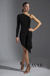 Single Long Sleeve Latin Practice Dress with Gathered Waist and Flutter Sash. Features Asymmetrical Skirt Pra575