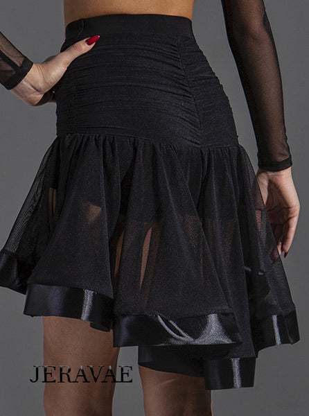 See Through Black Latin Practice Skirt with Asymmetrical Length and Satin Hem.  Features Ruched Back and Sewn in Shorts Pra577_in