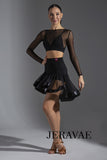 See Through Black Latin Practice Skirt with Asymmetrical Length and Satin Hem.  Features Ruched Back and Sewn in Shorts Pra577