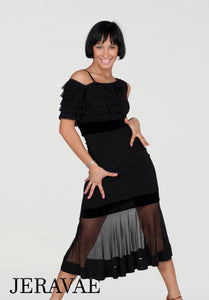 Sheer Latin Practice Skirt with Sleek Waist and Hips and Matching Ruffle Top with Thin Straps and Short Sleeves Pra442