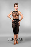 Sheer Lace Pencil Style Latin Practice Skirt with Velvet Accents and Gold Faux Buttons Pra Pra486