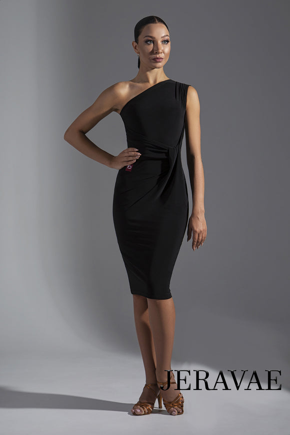 Single Shoulder Latin Practice Dress with Sleek Skirt and Gathered Waist Detail Pra573