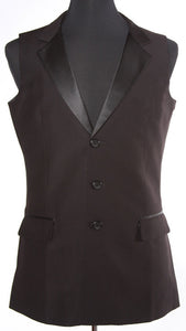 Single Breasted Smooth Ballroom Vest Black