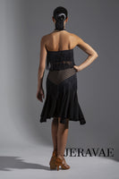 Lined Mesh Black Latin Practice Skirt with Nude Lining. Features Soft Hem and Fringe Accents Pra596