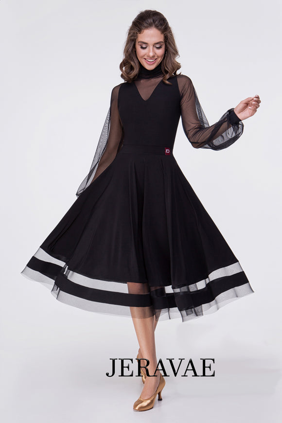 Tea Length Ballroom Or Standard Practice Skirt with Exposed Horsehair Hem and Striped Cut Out Detail Pra551