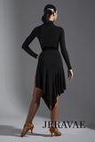 Black or Red Practice Skirt with High Side Slit, Velvet Waistband and Flutter V Cut Hem Pra581