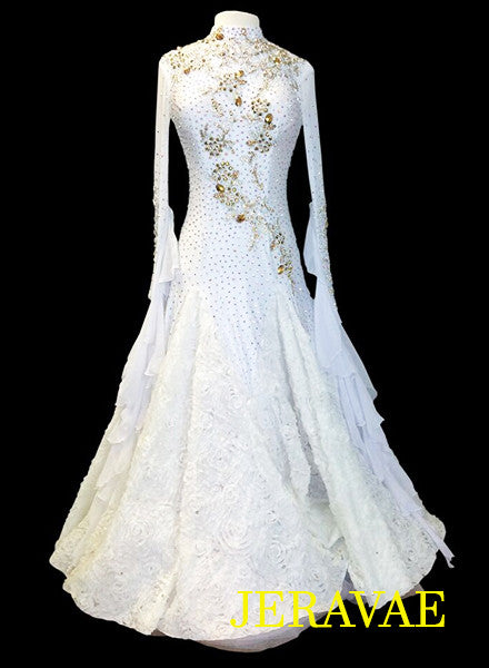 White Standard Ballroom Dress with Gold Accents and Lace Appliques SMO039
