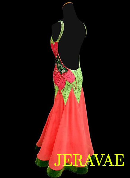 Watermelon Orange and Neon Green Smooth Ballroom Dress. SMO002 sz Small