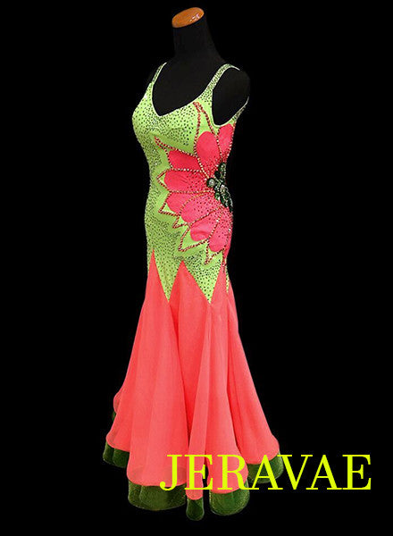 Watermelon Orange and Neon Green Smooth Ballroom Dress. SMO002