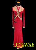 Royal Red and Gold Smooth Ballroom Dress SMO004 sz Medium