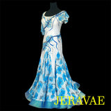 BLUE & WHITE SMOOTH BALLROOM DRESS W/ FLORAL SKIRT & SLEEVES SMO015 sz Large