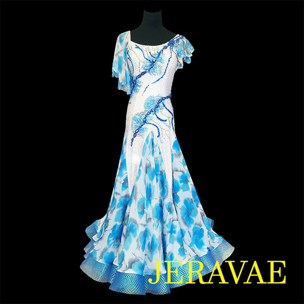 BLUE & WHITE SMOOTH BALLROOM DRESS W/ FLORAL SKIRT & SLEEVES SMO015
