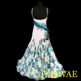 WHITE SMOOTH BALLROOM DRESS TEAL & BLACK STONES & LACE FLORAL M/L SMO016 sz Medium