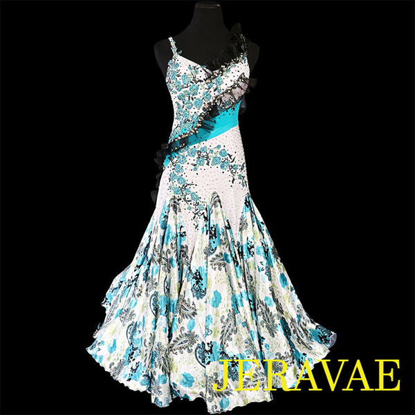 WHITE SMOOTH BALLROOM DRESS TEAL & BLACK STONES & LACE FLORAL M/L SMO016