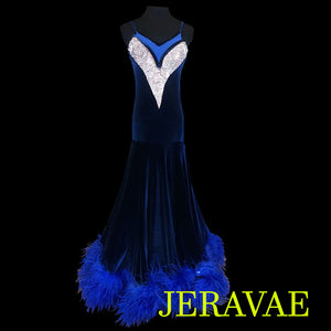 NAVY BLUE VELVET BALLROOM SMOOTH DRESS WITH FEATHER HEM SMO018 sz Medium