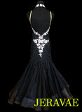Black Smooth Ballroom Dress with Swarovski stones and lace.  Removable Floats for Standard SMO036 sz Small/Medium