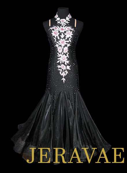 Black Smooth Ballroom Dress with Swarovski stones and lace.  Removable Floats for Standard SMO036