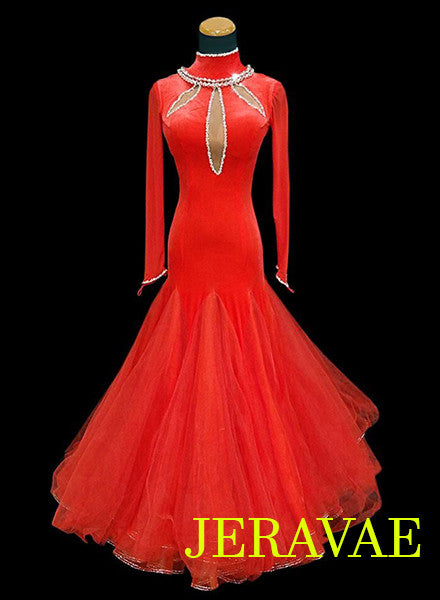 Red Velvet Ballroom Dress with Full Skirt Back Necklace Detail SMO037 sz Small