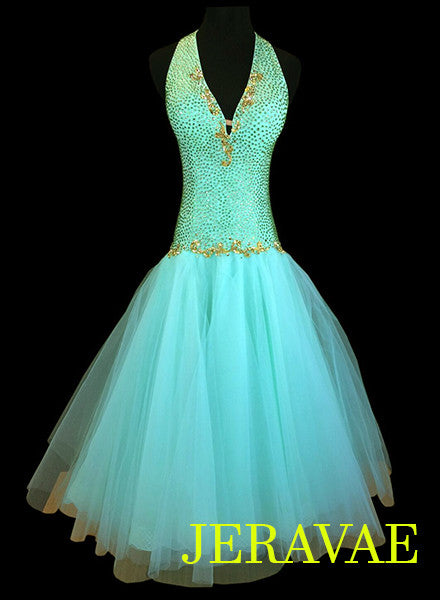 Mint Green Smooth or Standard Ballroom Dress with Gold Accents. Covered in Swarovski Stones SMO038