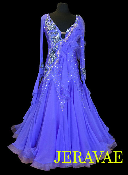 Stunning Violet Ballroom Dress with Detachable Floats and beautiful Swarovski Lace SMO039 sz Small/Medium
