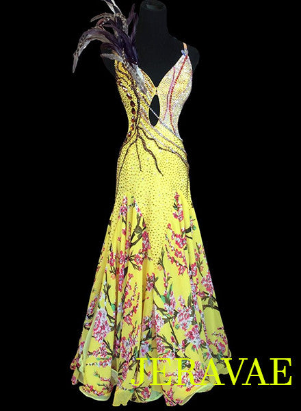 Yellow American Smooth Ballroom Dress with Floral Skirt and Feathers SMO040
