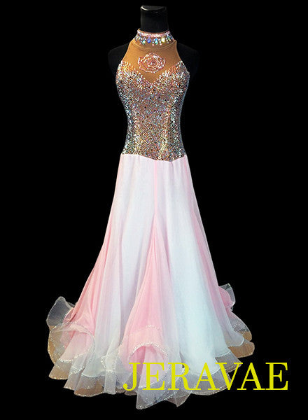 Baby Pink and Brown Smooth Ballroom Dress Ombre Skirt Rose design Loaded w Swarovski stones SMO041