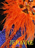 Orange and Purple American Smooth Dress With Feathers accent and Swarovski Stones SMO042 sz Large