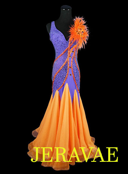 Orange and Purple American Smooth Dress With Feathers accent and Swarovski Stones SMO042