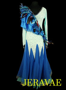 Blue Feather Smooth Ballroom Dress with Flutter sash and sleeves SMO043