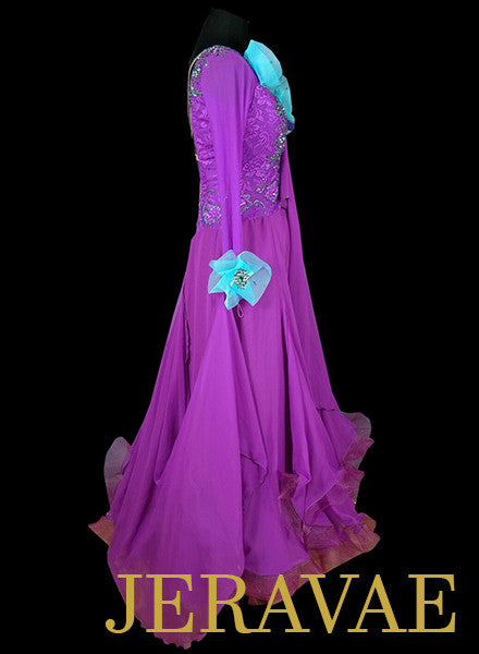 Purple and Blue Ballroom Dress with Open Back and Detachable Floats SMO046 sz Medium/Large