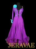 Purple and Blue Ballroom Dress with Open Back and Detachable Floats SMO046