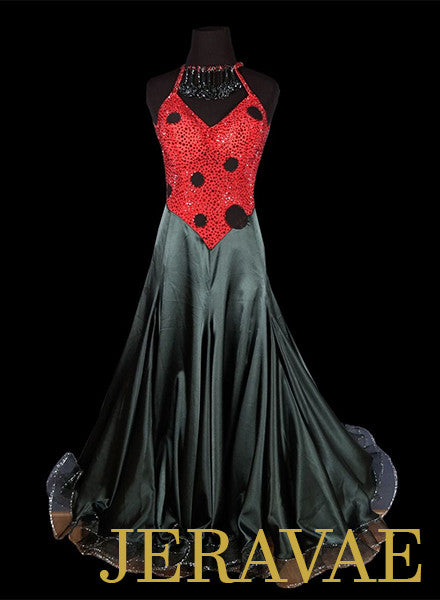 Red and Black Polka Dot Ballroom Dress With Necklace Detail SMO047
