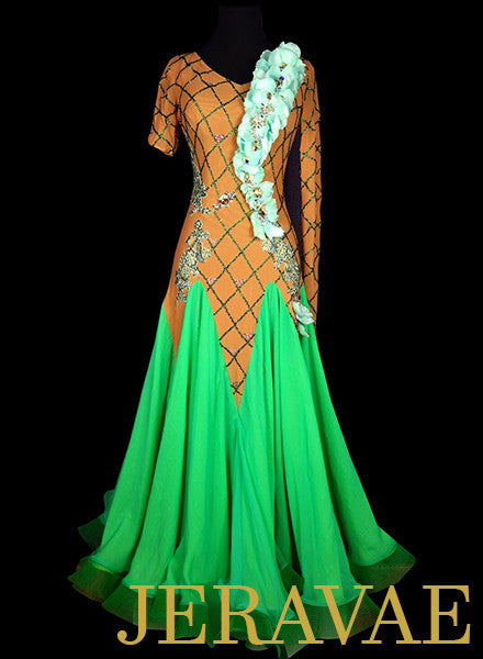 Nude Ballroom Dress w Green Flower Accents and Skirt Swarovski Crystal Stonework SMO048