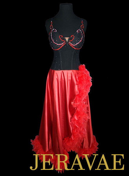 Red and Black Corset Ballroom Dress with Feathers and Slit Skirt SMO050 sz Medium