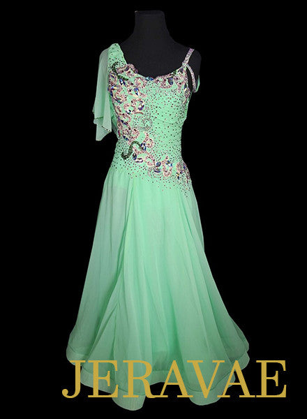 Light Green Ballroom Smooth Dress With Lace Applique and Swarovski Crystals SMO052