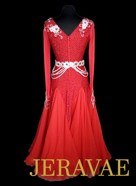 Red and White Ballroom Dress with Belt Heavy Swarovski Stoning SMO053 sz Medium