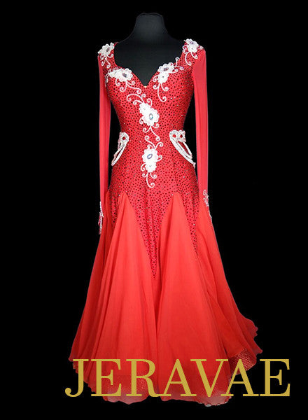 Red and White Ballroom Dress with Belt Heavy Swarovski Stoning SMO053