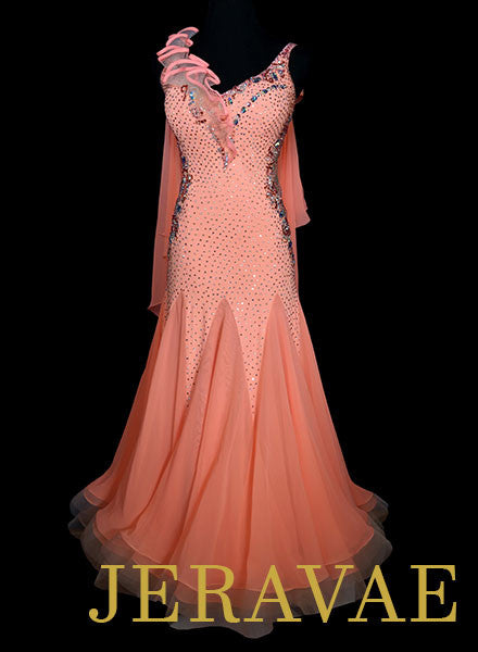 Resale Creamy Orange Ballroom Dress with Wristbands and Floats SMO056