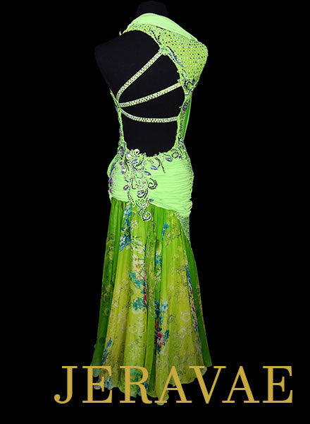 Resale Neon Lime Green Ballroom Dress with Floral Skirt SMO057 sz Medium/Large